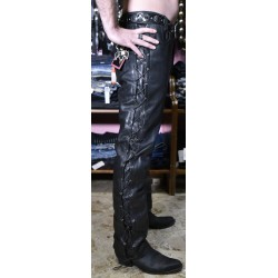 jeans in pelle lacci laterali